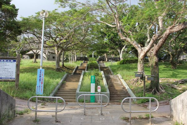 The Yara Castle Site in Kadena Town is now a park with markers throughout detailing the 15th century Ryukyuan complez that once stood there