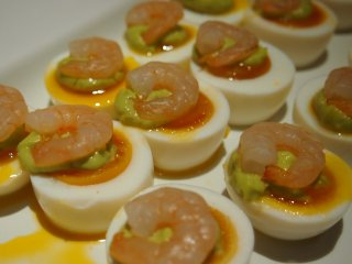 Delicately created appetizers of the appetizers bar for the dinner menu.