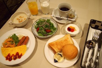 Or, the western option is available with a delicious spread of omelette, salad, breads and sausages.