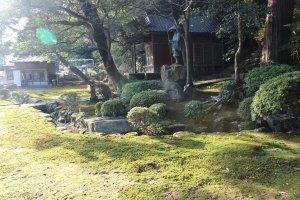 入り口付近の庭。苔が日に映えて美しい