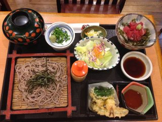 I had previously not enjoyed cold soba nor necessarily looked forward to variety sets like this; the tuna rice and seaweed bowl with wasabi poured over it was extremely delicious