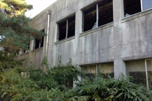 This middle school was destroyed during the tsunami. The children still at school safely evacuted  to a hill behind campus. Those students that went home early were not so lucky.