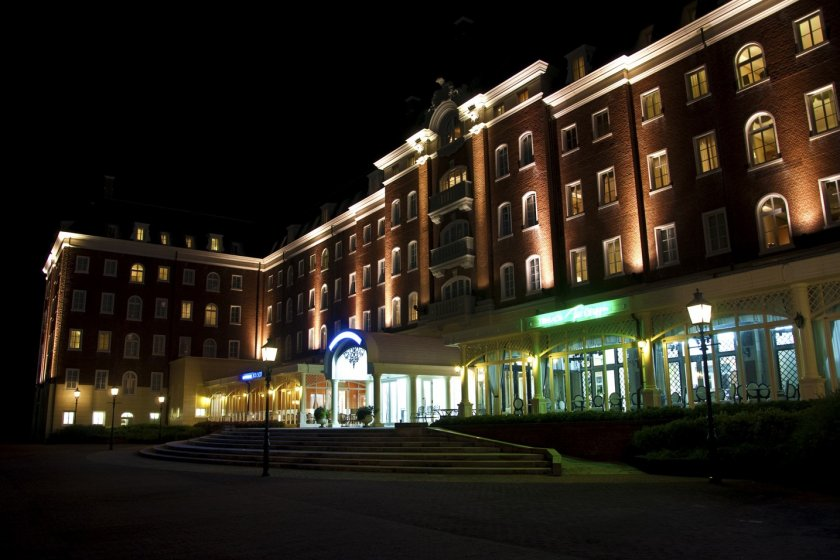 Front view of the Watermark Hotel at night