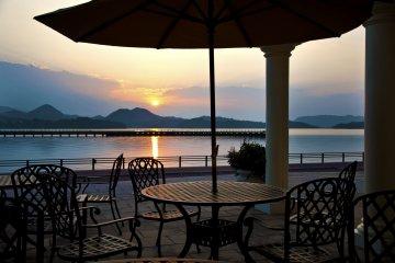 Sunrise over Omura Bay from the hotel's terrace