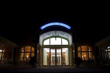Waterfront entrance at night