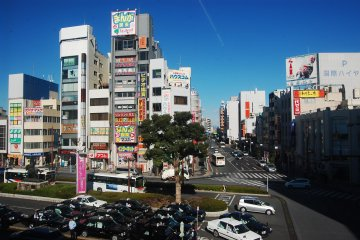 View outside the station, shows the business district of Kumagaya city
