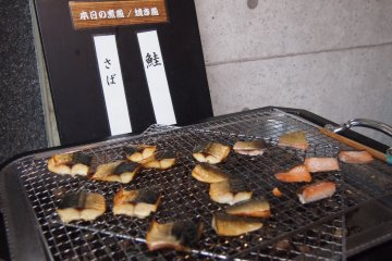 Mackerel and Saba fish, fresh from the grill.