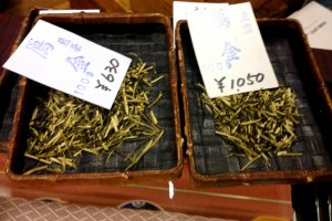 Tea specimens in bamboo display cases in this timeless tea merchant's shop in Teramachi Kyoto