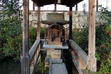 An island shrine on the grounds
