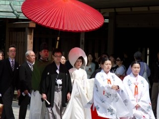 As this is a very traditional wedding ceremony, the couples getting married here all wear the traditional wedding 'kimono'.