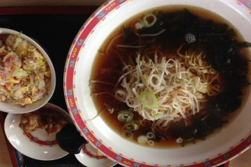 <p>A ramen set served in the largest bowls I have seen on Okinawa</p>