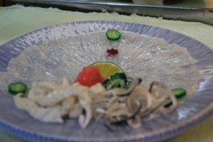 Puffer fish sashimi