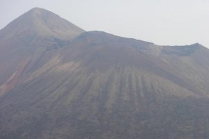The peak of Takachiho-dake in the distance