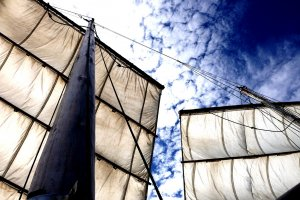 The Kumamoto Utase historical boat in full sail off the Amakusa Islands