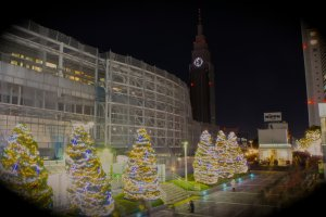Docomo Tower in background, Christmas illumination at Shinjuku Southern Tower