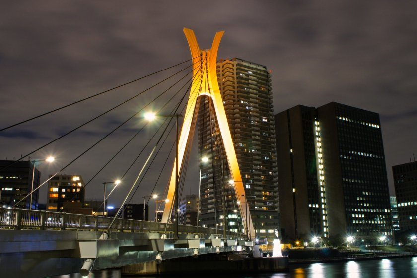 Chuo-Ohashi Bridge with the UR apartments in the background