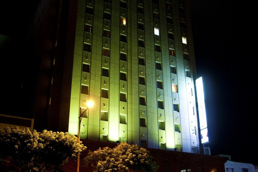 Hotel Route-Inn Naha Tomariko at night