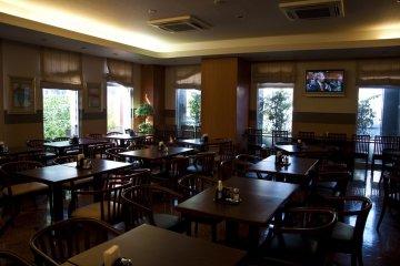 <p>Hotel restaurant before breakfast time</p>