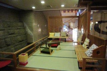 Relaxing area inside onsen