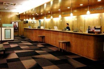 <p>Karasuma Kyoto Hotel Front Desk and Reception has a retro look</p>