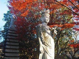 Fukuju-in juga memiliki beberapa patung, salah satunya adalah patung Dewi yang cantik ini.