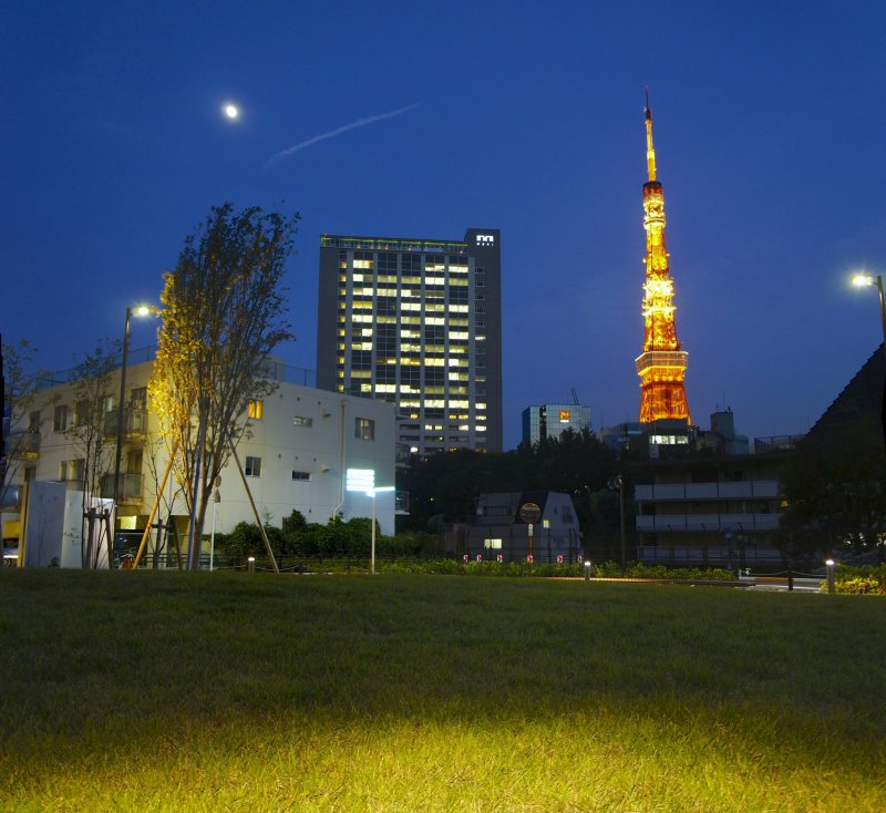<p>Tokyo Tower in the evening as seen from nearby the Sengokuyama Hills Residence</p>