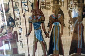 <p>A painting on papyrus. This style of paper has been around for nearly 3000 years.&nbsp;</p>