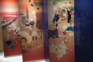 <p>Images of old Japan tease you on your way to the exhibits at the&nbsp;Kita City Asukayama Museum.</p>