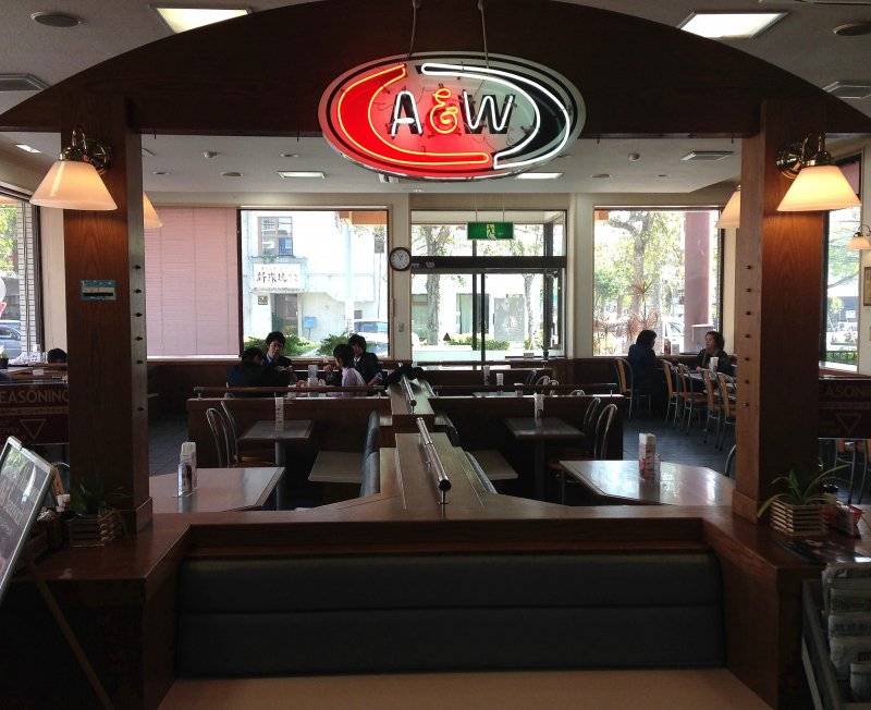 Most of the 26 A&W locations in Okinawa have been in place for decades. The dated decor and layout are a part of what makes a visit so much more special than just visiting McDonalds again