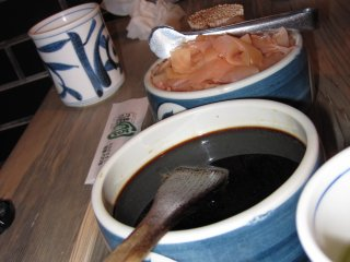 The commonsoy sauce bowl and lots of ginger to cleanseyour palate after each piece