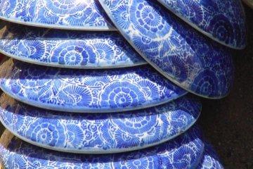 Blue pottery.