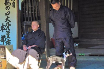 Temple monks and their dog, observing the market.