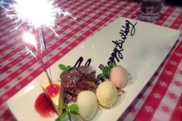 <p>Is it your birthday? Restaurant staff will deliver a nice&nbsp;Homemade Dessert with sparklers!</p>