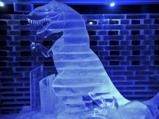 Ice sculptures.This ice dinosaur was taller than me.