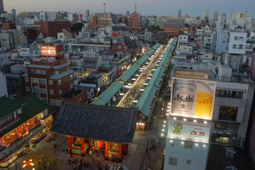 <p>View from the Miharashiya Cafe on the 8th floor of the Asakusa&nbsp;Culture Tourist Information Center.&nbsp;The crowds passing on the street and the people winding through&nbsp;Nakamise&nbsp;Dori offer good action to watch from above.</p>