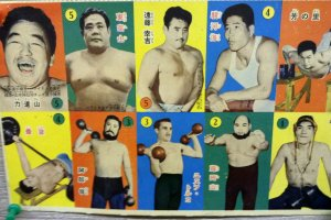 A collection of tradable sumo menko cards.