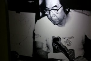 An image of Kyohei Fujita watches over his masterpieces.