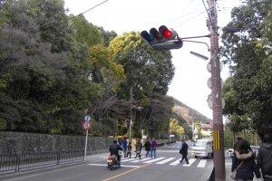 เมื่อลงจากป้ายรถเมล์แล้วให้เดินข้ามทางม้าลายเพื่อเดินเข้าสู่ตัววัด