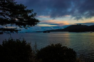 Matsushima Bay at sunset.