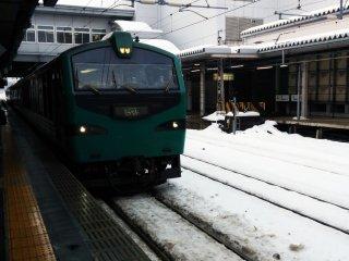 The Resort ShirakamiBuna train pulls into AkitaStation.
