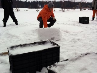 Bricks are made by shoveling snow into this boxes which have one side open. Compact the snow with your foot, slide the brick out, then get stacking!
