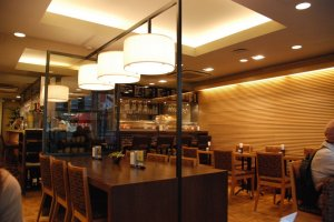 The second floor cafe at Kimuraya