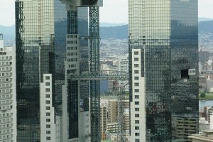 Umeda Sky Building standing tall in the center of Osaka.