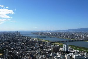 View of Okawa river from the top on a clear day.