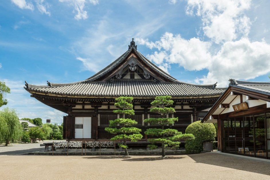 Main Hall of Sanjusangendo Buddhist Temple in Kyoto